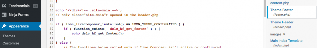 Part of the footer code