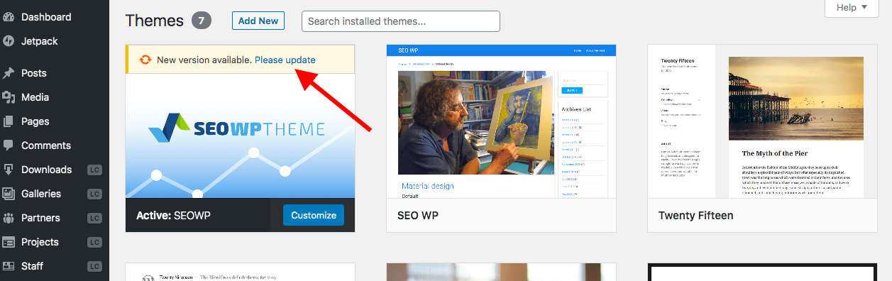 Updating your WordPress themes
