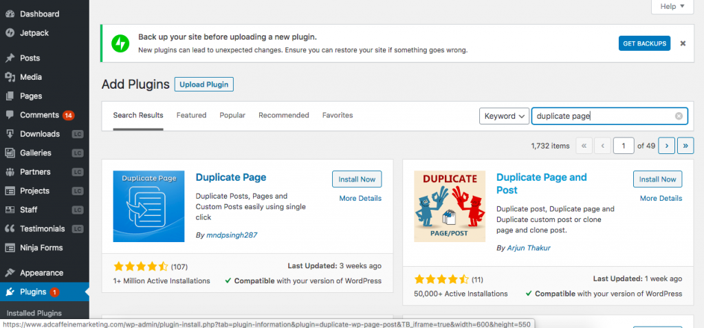 Wordpress page duplicating